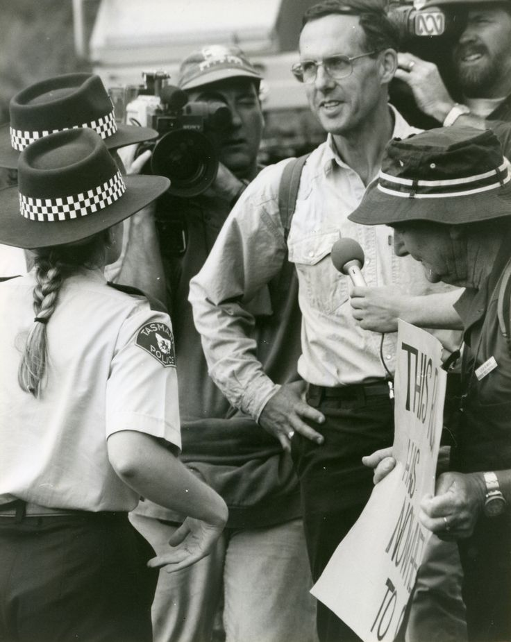 Bob being arrested in the Tarkine, 1995