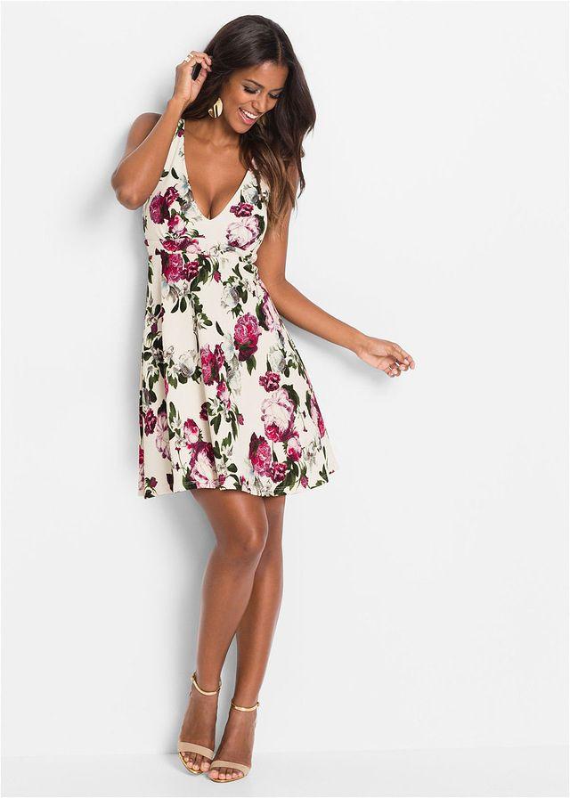 Sukienka W Kwiaty Kremowo Czerwony W Kwiaty Bonprix Sklep Fashion Casual Dress Cold Shoulder Dress