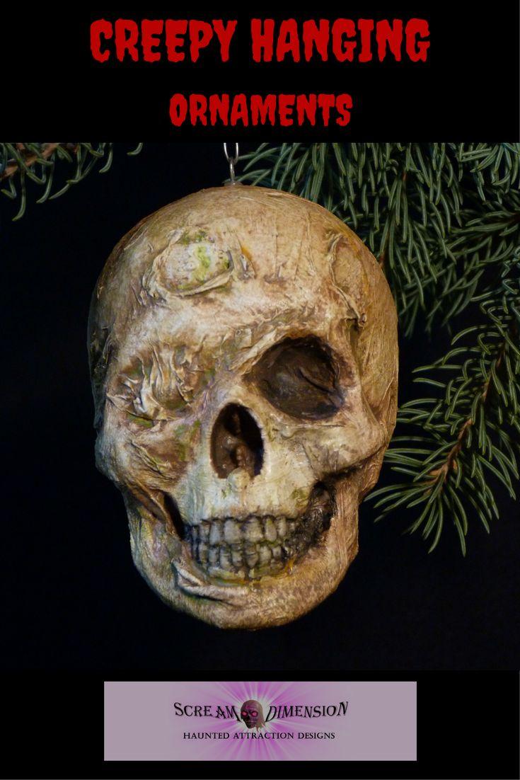 Miniature hanging corpse head ornament for Halloween or Christmas. Visit Scream Dimension at https://www.etsy.com/ca/shop/ScreamDimension?ref=seller-platform-mcnav