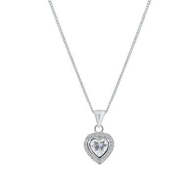 Zilveren ketting met hanger hart zirkonia (1037028)