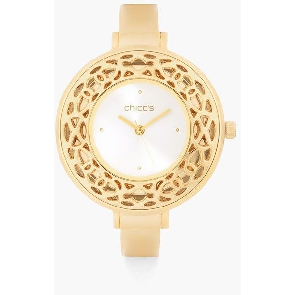 Chico's Portia Watch ($59) ❤ liked on Polyvore featuring jewelry, watches, gold, chicos watches, chicos jewelry, gold-tone watches, cut out jewelry and gold tone jewelry