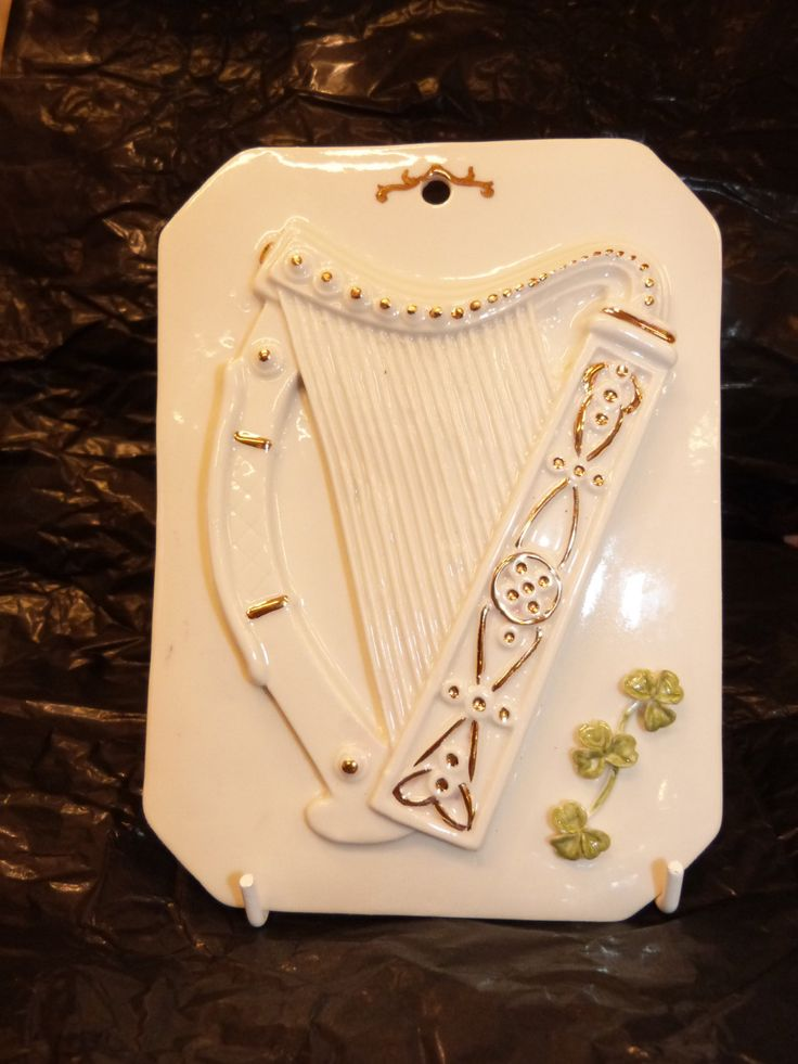 irish celtic harp wall tile / wall plaque with applied shamrocks handcrafted at hillgrove porcelain ireland by hillgroveporcelain on Etsy