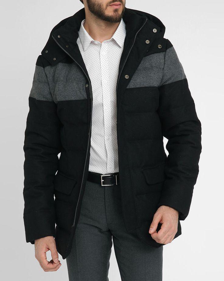 Doudoune flanelle bicolore noire et grise capuche amovible Dani BILLTORNADE homme, Doudounes Noir homme