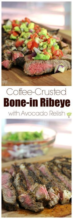 Coffee-Crusted Bone-in Ribeye with Avocado Relish from EricasRecipes.com #KingOfFlavor #ad
