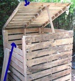 faire un composteur avec des palettes en bois composting pallets and gardens. Black Bedroom Furniture Sets. Home Design Ideas