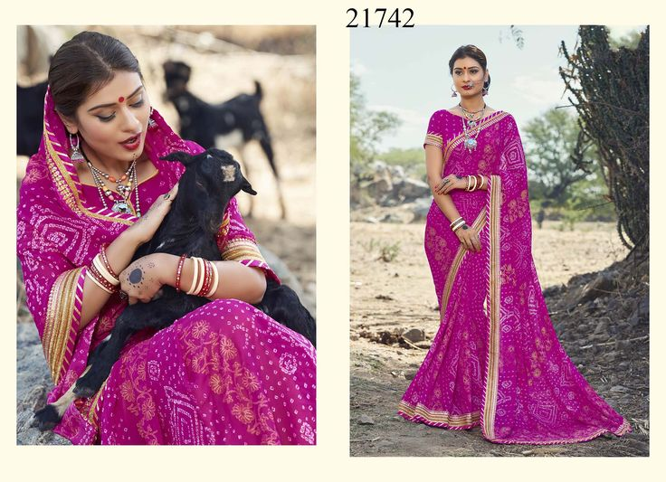 Look like a divine beauty of this festive season draping this pink coloured georgette saree that is majestically designed with Bandhani printed work for women #womensfashion #sarees