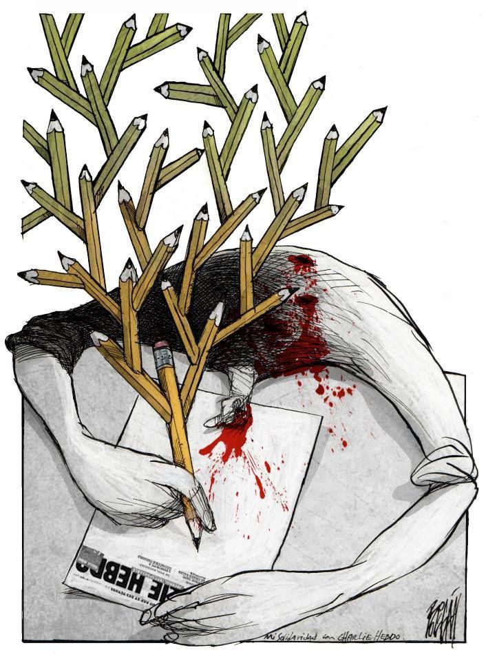 A tribute to Charlie Hebdo by Angel Boligan