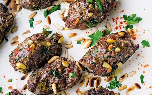 These were awesome for dinner tonight: kofta b'siniyah – lamb and beef meatballs from Ottolenghi