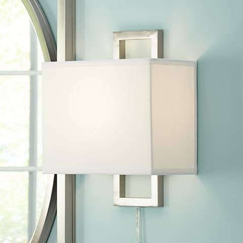 Aundria Rectangular Brushed Steel Plug-In Wall Lamp