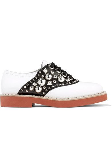 Miu Miu - Studded Two-tone Leather Brogues - White