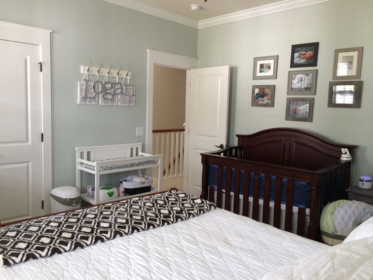Combo nursery guest room gray blue nursery shared room for Master bedroom with attached nursery