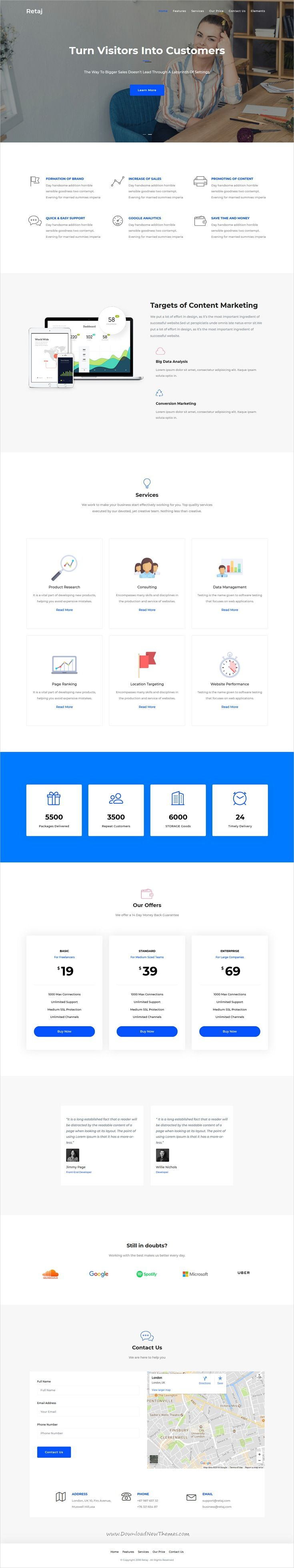 Retaj is clean and modern design responsive multipurpose bootstrap HTML5 template for onepage #marketing #agency website with 10+ niche homepage layouts to live preview & download click on Visit