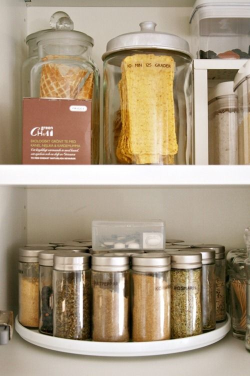 Organize your spice cabinet with a Lay Susan to keep everything in sight and easy to find.