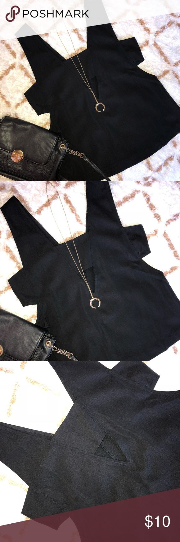 Forever 21 Cut-Out Top Sexy cut outs - one small triangle in front and cut outs at each arm hole. Cute with sexy bra Leyte or lacy black bra underneath. Pair with a body chain, black leggings and heels for a night out! Like new condition. Offers always welcome. Forever 21 Tops Tank Tops