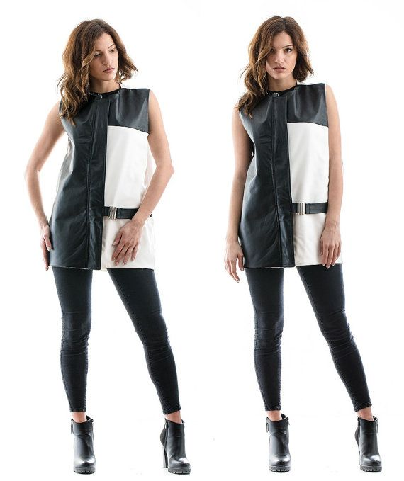 Black and White Waistcoat black and white vest by madecoutureeu