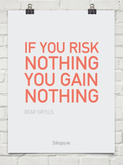 If you risk nothing you gain nothing by BEAR GRYLLS #269940