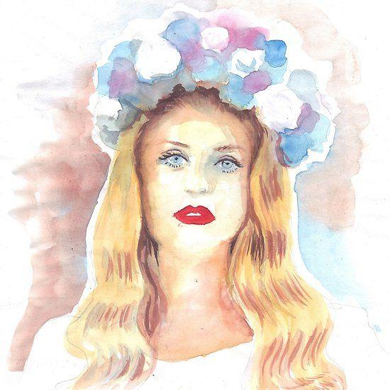 Lana Del Rey, watercolor portrait painting