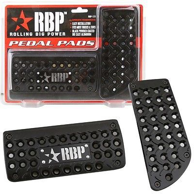 RBP-Black-Powder-Coated-Aluminum-Brake-Gas-Pedal-Pads-A-T-for-Ford-F250-F350
