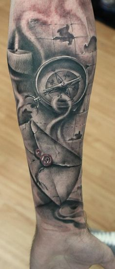 Tattoo. Compass, map and letter