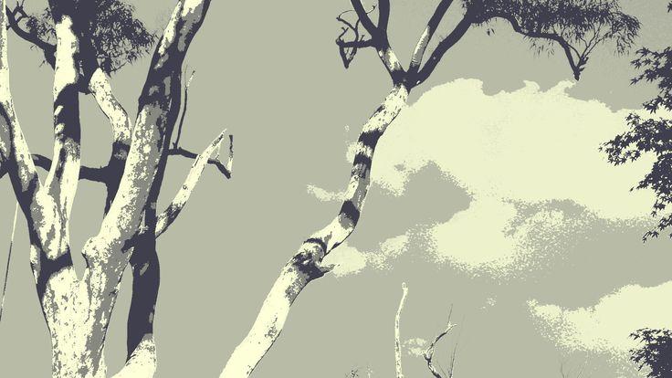 Sydney Bushland, Gray and Black Eucalypt by Blackbird Art and Design www.etsy.com/au/shop/BlackbirdArtDesign