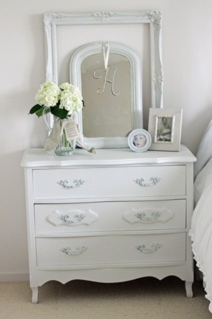 Another example of a small chest used as a night stand.  Great idea for a small bedroom. sweet-dreams