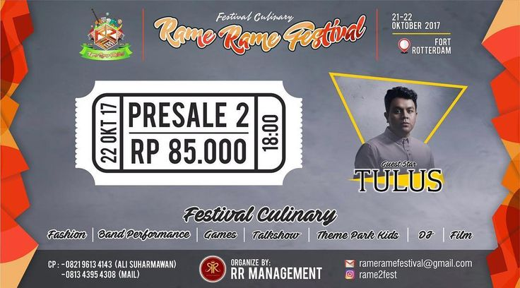 GET READY! Rame2fest 2017. Makassar 21-22 Oktober 2017 ----- NOW WE ARE OPEN TICKET PRESALE 2 FOR DAY 2 SPECIAL GUEST START @tulusm  ONLY Rp. 85.000- ----- And anything you want we have it : - Culinary - Fashion - Film - Musik - Theme Park  And many more ----- So don't forget to grab your ticket now!! Tiket box : - Sante' by Jeux @santebyjeux - Esprezza Cafe @essprezzacafeandbistro - Prambors Radio 105.1 Fm @pramborsmks - Bubur Ayam Amsterdam @buburayamamsterdam ----- Start open at 16:00…