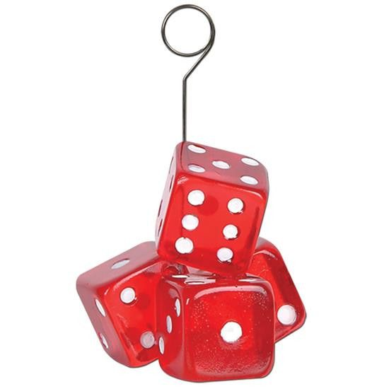 This awesome red dice Photo/Balloon Holder can be used as either a balloon weight or as a way to display photos. This item is great for casino parties. Each photo or balloon holder is 2.5 inches tall