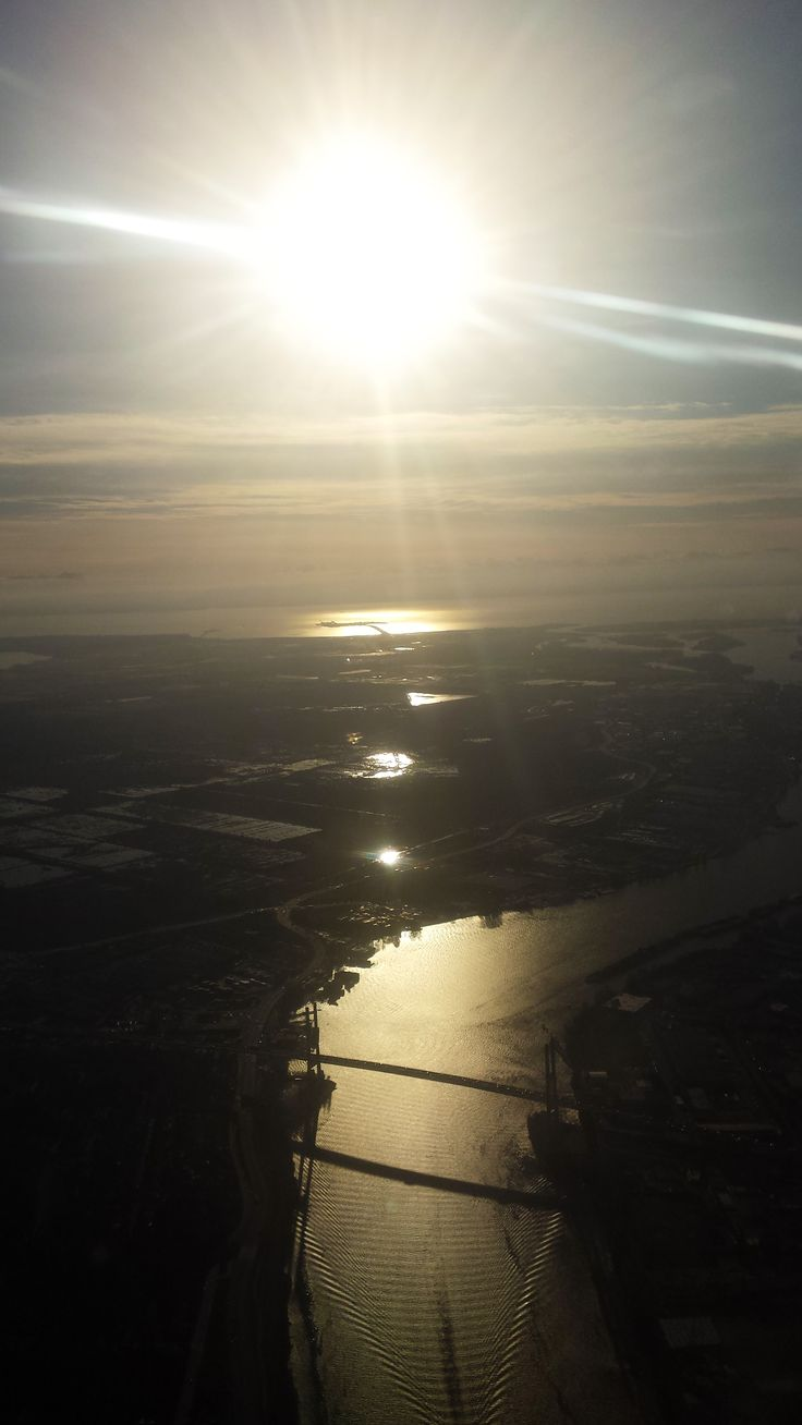 Sunset over Vancouver from the Air Canada Embraer 190