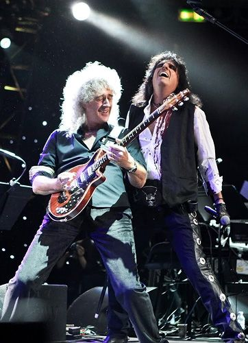 Brian May and Alice Cooper perform during The Sunflower Jam at Royal Albert Hall in London - September 16th, 2012.