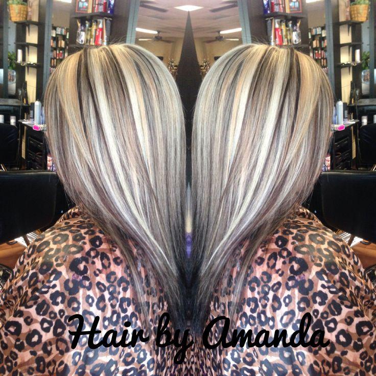 Platinum highlights with a medium brown base. Platinum hair. Brown hair. Blonde hair. Straight hair. Long hair. Layered hair. Face framing layers.