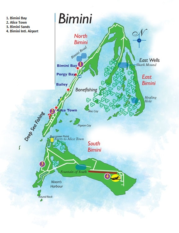 Physical Map Of The Bahamas Islands