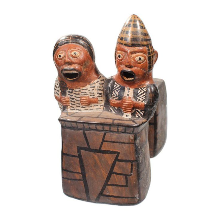 Huaco Silbador-Peruvian Whistling Vessel - Man and Woman