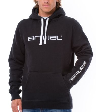 Animal Lunas Pullover Hoody in Black (XXL)     Get yourself some new surf clothing for this season - the Animal Lunas hoody in black will go with more or less any other colours in your surf clothing or street clothing collection.  The Animal black hoody features hood drawstrings and an embroidered Animal logo on the chest. The mens surf hoody has a pouch pocket and the ribbed cuffs and waistband will help keep out the cold weather.  #Animal #Hoodies