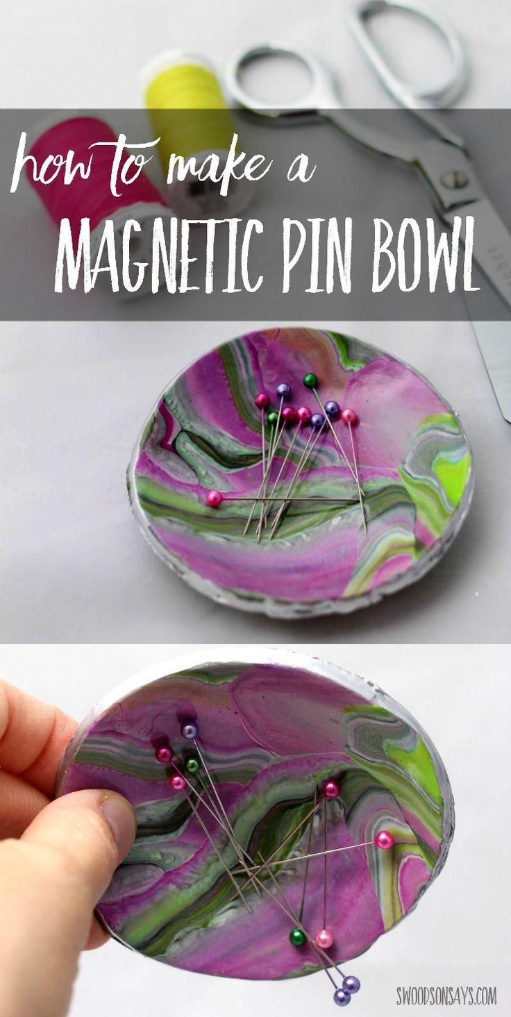 Hacer un tazón pasador magnético diy con este tutorial de arcilla fácil.  regalo de DIY perfecto para un amante de costura, nadie va a creer que es hecho a mano!