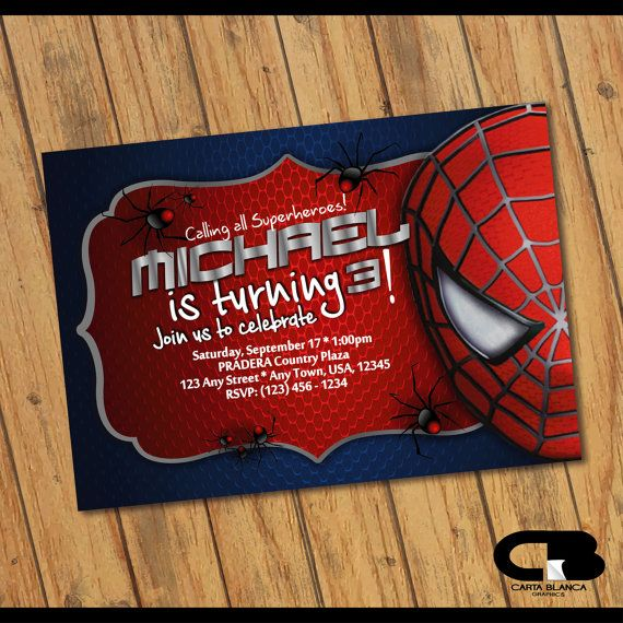 Spiderman invitación invitación Spiderman hombre araña