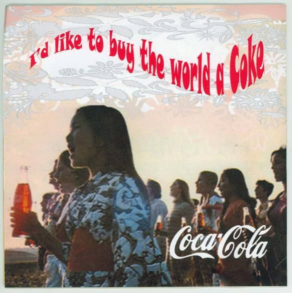 """I'd like to buy the world a Coke.""  I remember around '75 or so, Grandma complained the Cokes were darker than they were in the past.  Notice how light the bottle the girl up front is holding."