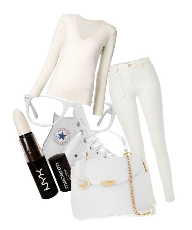 """White set"" by inkmanwil on Polyvore featuring Converse, Muse, NYX, River Island, Chloé and Versace"