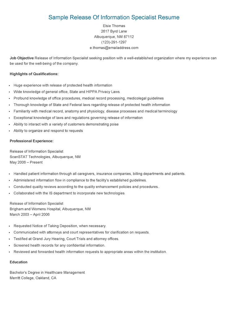 sample release of information specialist resume