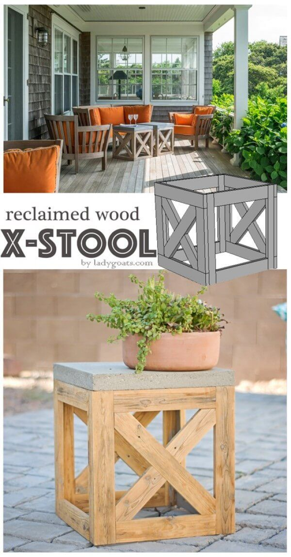 Reclaimed Wooden X-Stool & Side Table