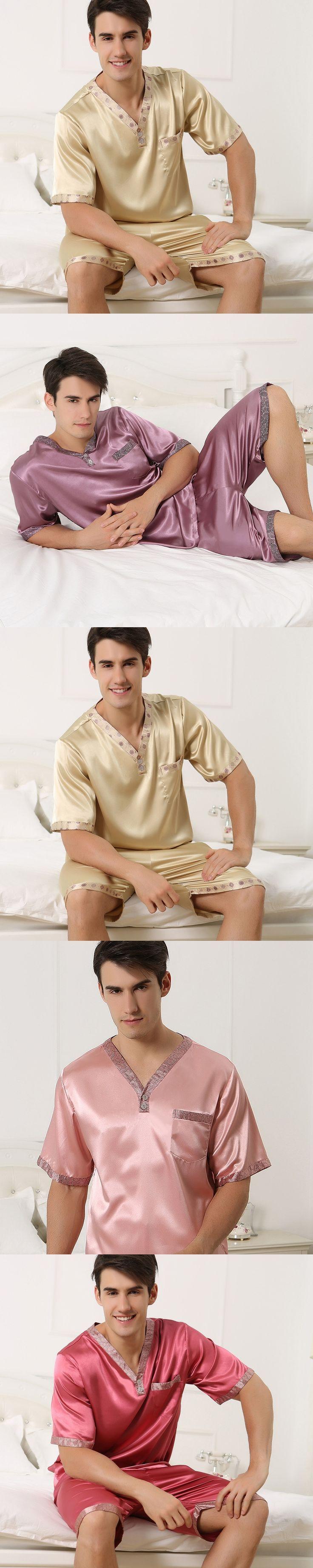 Summer men's silk pajamas short sleeved v neck pyjamas twinset with shorts thin plus size mens sleepwear XXXL XXXXL loungewear