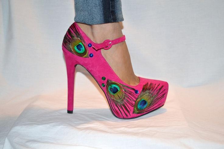 Fuchsia Pink Peacock Heels