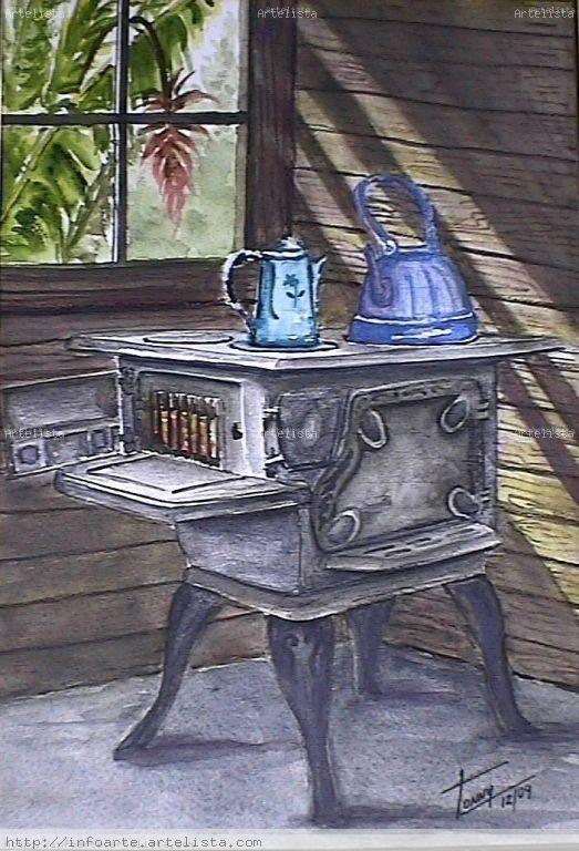 Resultado de imagen de cocina de leña dibujo