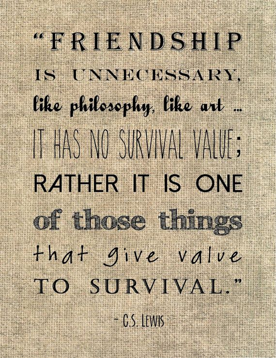 C.S. Lewis friendship quote typography by JenniferDareDesigns, $8.00