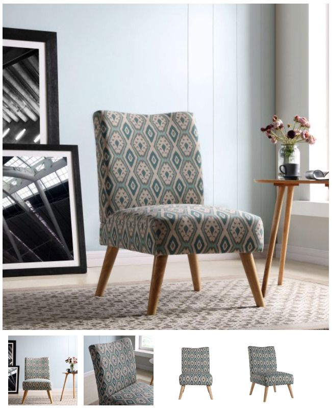 Slipper Chair With Wood Legs Armless Accent Chair For Living Room