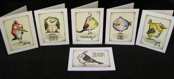 Bird Crazy Note Cards, Tim Holtz Bird Crazy, Cartoon Bird Cards, Stampers Anonymous, Set of All Six Bird Crazy Stamps, Six Card Set,Upcycled