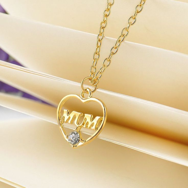 """""""Mum"""" Crystal Heart Necklace Mother's Day Gift"""