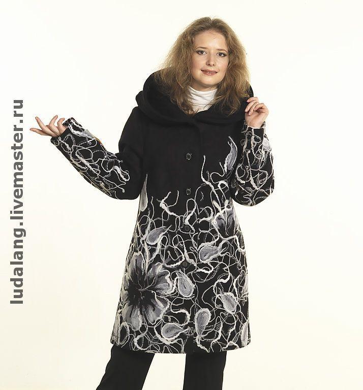 """Купить Полупальто """"Серебристые фиалки"""" - Нарядное пальто, авторский трикотаж, эксклюзивное пальто, Дизайнерское пальто"""