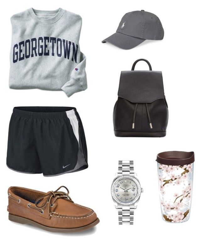 """Georgetown University"" by cav24 on Polyvore featuring Sperry, Champion, NIKE, rag & bone, Rolex, Polo Ralph Lauren and Tervis"