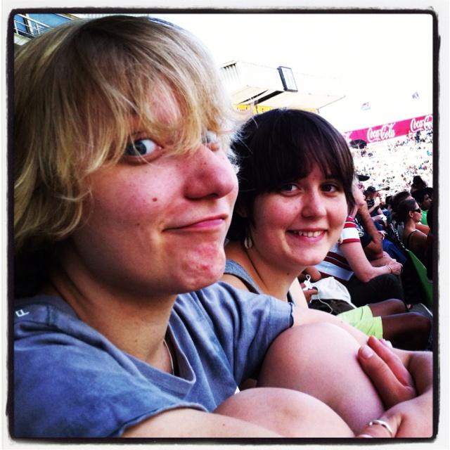 Hannah and Sindi at the Sharks (watching cricket).