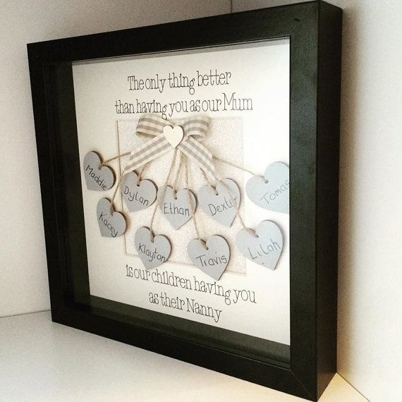 With Mothers Day fast approaching, this beautiful made to order frame is a perfect gift for Nanny, Gran, Grandma or any other name of your choice on Mothers Day and will be fully personalised with all of the grandchildren or even great grandchildrens names.  It is 23cm x 23cm frame in a choice of black or white and the small hearts and ribbon accent can be a colour of your choice.  Unless a colour preference is stated then the item will be made with the neutral grey colours as shown in the…
